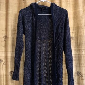 Style & Co Hooded Cardigan, Blue, Small